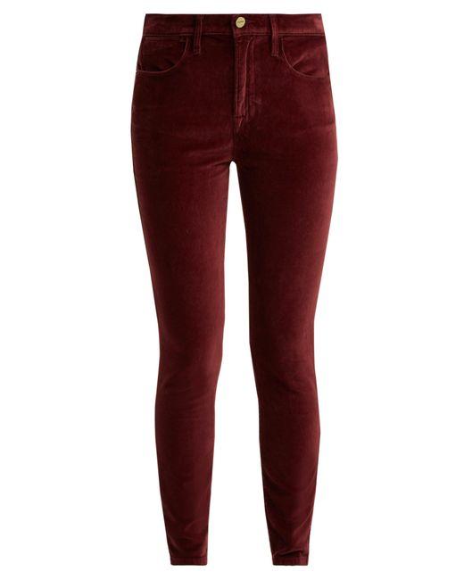 FRAME - Red Le Velveteen Cotton-blend Velvet Jeans - Lyst