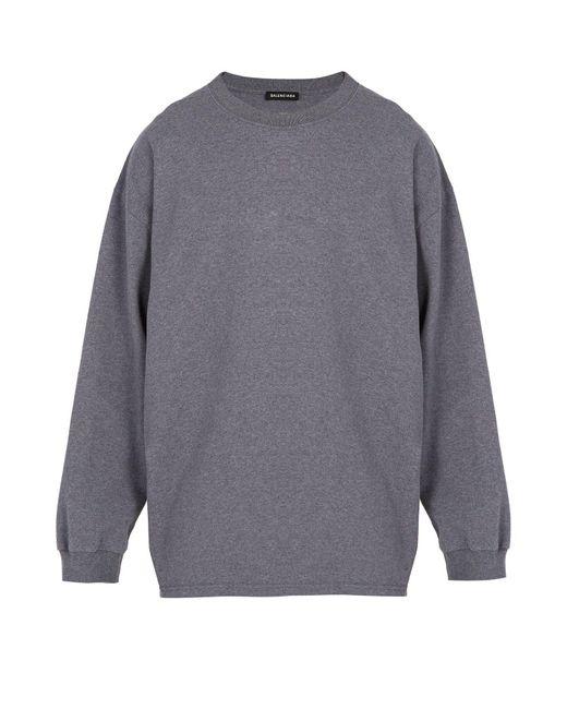Balenciaga Gray Self Diagram Print Cotton Sweatshirt for men