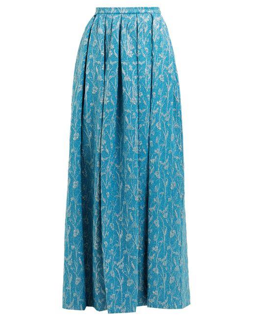 Rochas ハイライズ フローラルプリント サテンスカート Blue