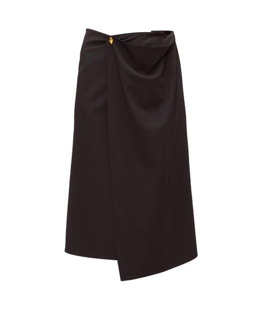 Bottega Veneta ドレープ ウールツイル ミディスカート Black