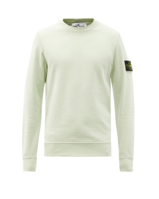 Sweat-shirt en jersey de coton à empiècement logo Stone Island pour homme en coloris Green