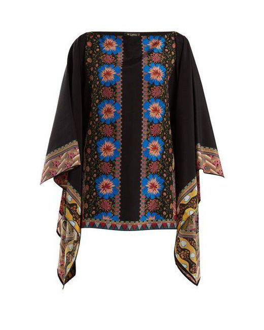 Etro - Black Floral-print Silk-georgette Top - Lyst