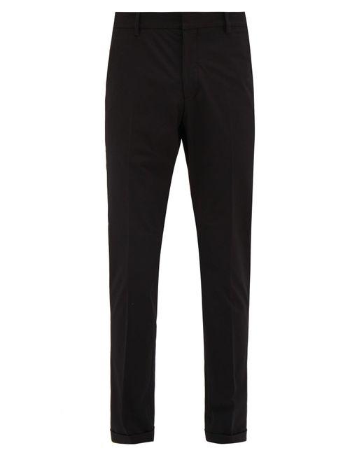 Prada Black Tailored Technical Twill Trousers for men