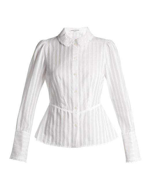 Sonia Rykiel | White Broderie-anglaise Collar Striped Cotton Blouse | Lyst