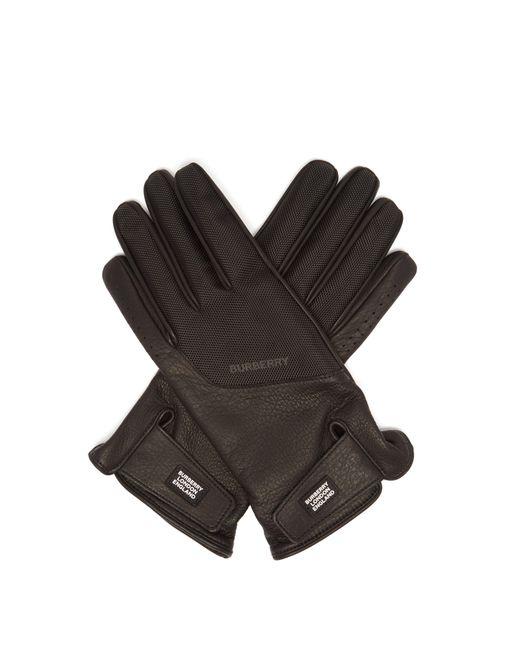 Gants en cuir à empiècements techniques Burberry pour homme en coloris Black