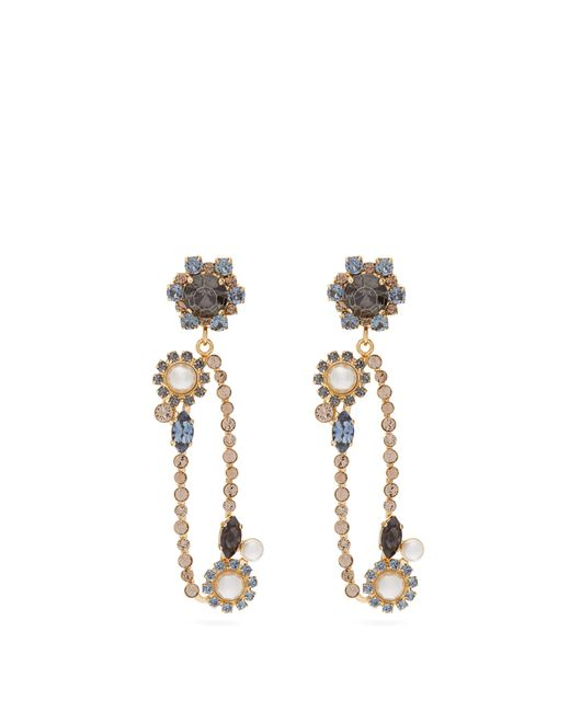 Erdem Blue Crystal-embellished Floral-drop Oval Earrings