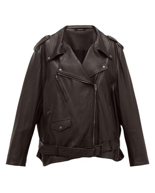 Maison Margiela Black Oversized Belted Leather Biker Jacket