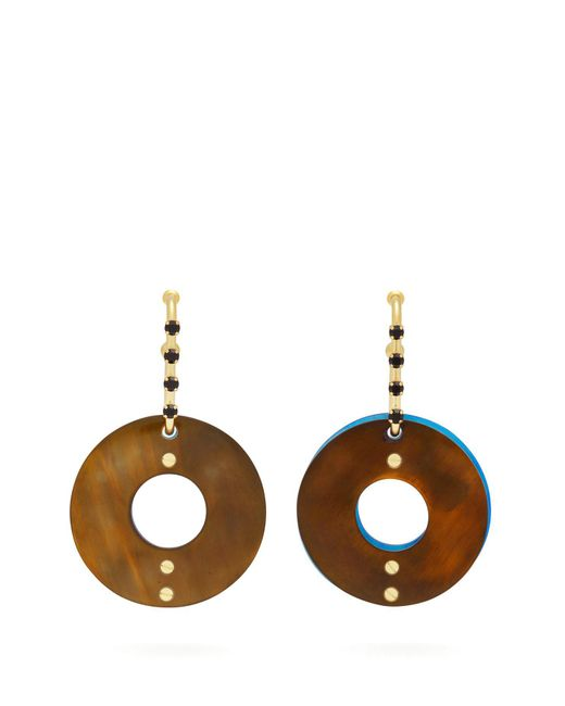 Marni - Green Hoop Crystal Drop Earrings - Lyst