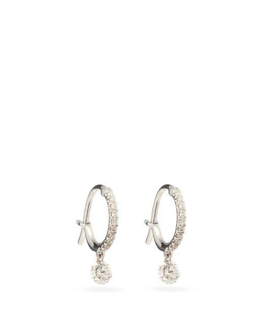 Raphaele Canot ダイヤモンド 18kホワイトゴールドフープピアス Metallic