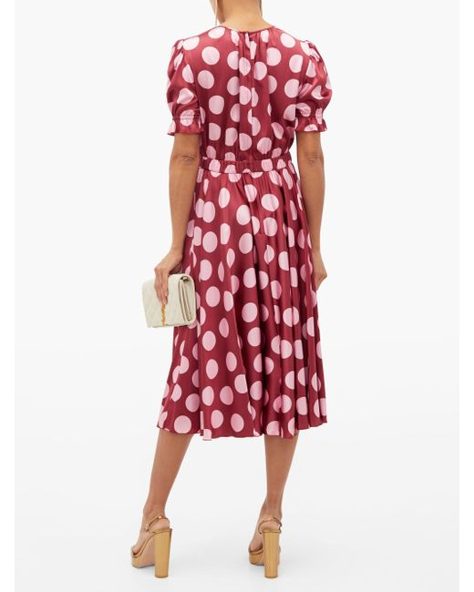 Robe en satin de soie mélangée à pois Dolce & Gabbana en coloris Red