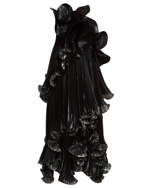 Givenchy Black One Shoulder Ruffled Lurex Silk Blend Dress