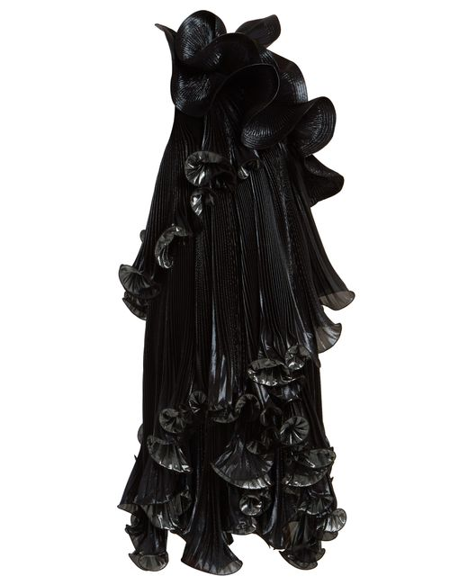 Givenchy Black One-shoulder Ruffled Lurex Silk-blend Dress