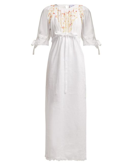 Thierry Colson - White Tatiana Floral Embroidered Cotton Dress - Lyst