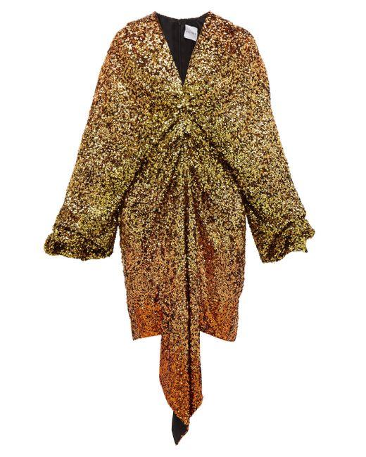 Halpern グラデーションスパンコール ドレス Multicolor