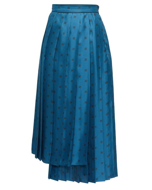 Fendi カーリグラフィ シルクプリーツスカート Blue