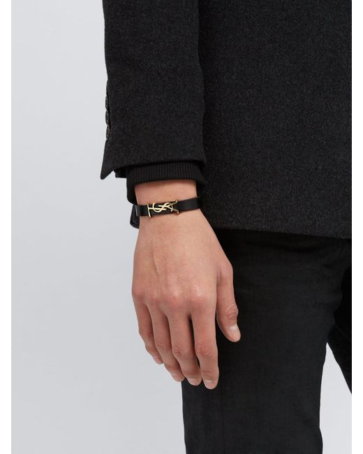 Saint Laurent Black Ysl Monogram Plaque Leather Bracelet for men