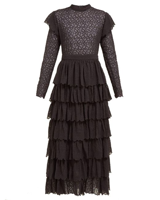SIR Black Florrie Tiered Broderie-anglaise Silk Midi Dress