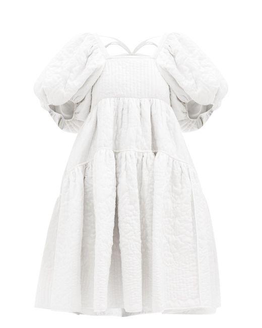 CECILIE BAHNSEN エドウィグ キルティングシルクドレス White