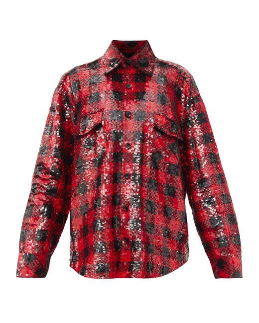 Ashish オーバーサイズ スパンコール チェックシャツ Red