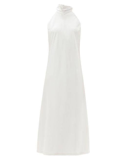 Galvan カプリ ホルターネックタイ サテンドレス White