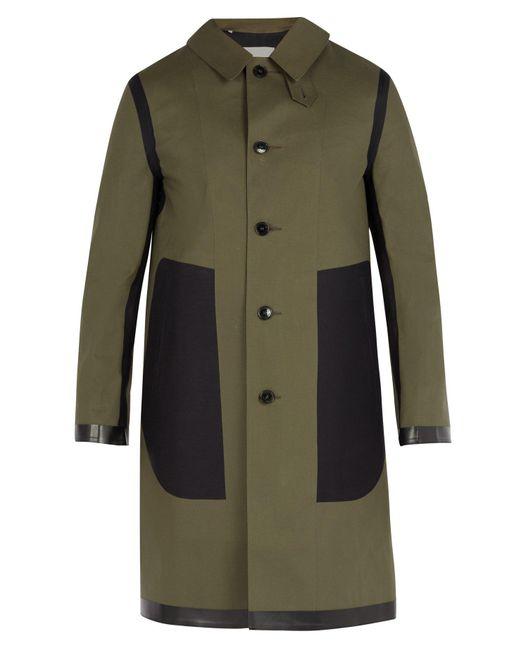Mackintosh - Green Contrast Panel Bonded Cotton Overcoat for Men - Lyst