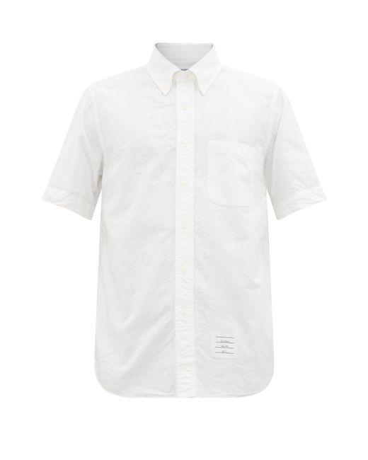 メンズ Thom Browne ボタンダウン コットンオックスフォードシャツ White