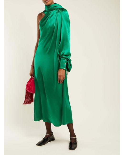 Robe asymétrique froncée en satin de soie Hillier Bartley en coloris Green