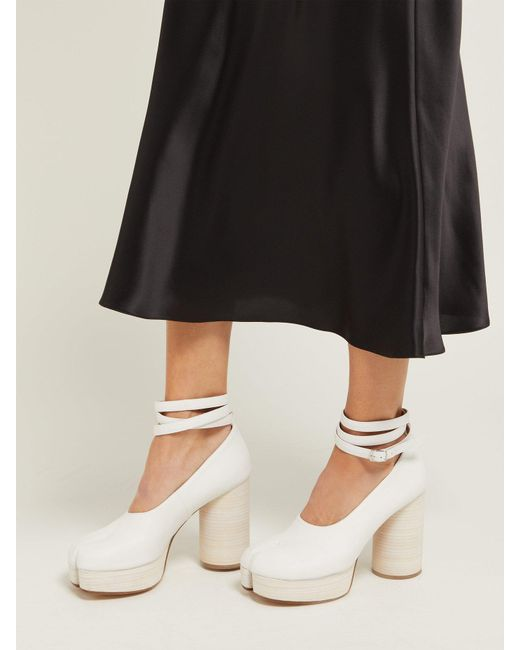 3343f80ad7f6 ... Maison Margiela - White Tabi Ankle Tie Leather Pumps - Lyst ...