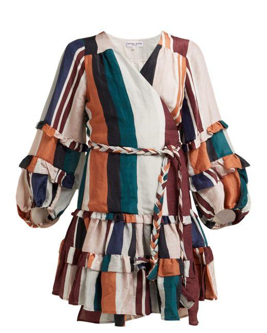 Apiece Apart Multicolor Zarza Striped Linen-blend Wrap Dress