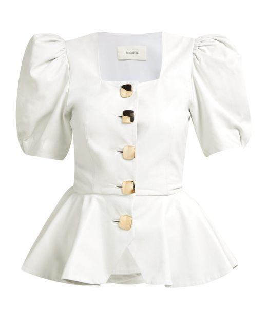 Rodarte White Square-neck Puffed-sleeve Leather Blouse