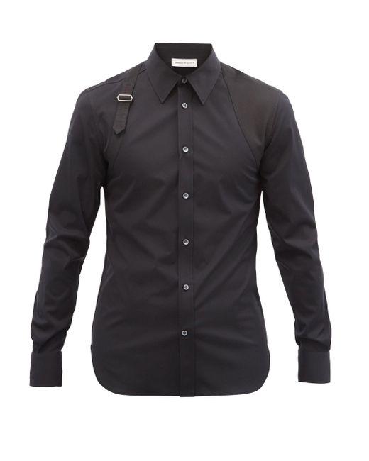 メンズ Alexander McQueen ハーネス コットンポプリンシャツ Black
