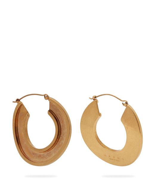 Marni - Metallic Open Hoop 24kt Gold Plated Earrings - Lyst