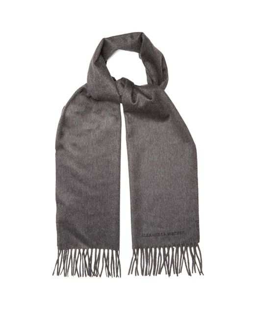 Alexander McQueen | Gray Logo-embroidered Cashmere Scarf for Men | Lyst