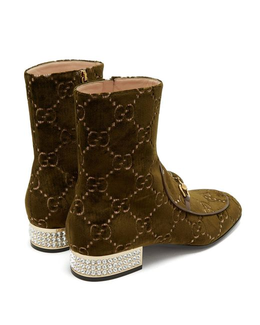 a65c9f2dc ... Gucci - Green Mister Logo Jacquard Velvet Ankle Boots - Lyst ...