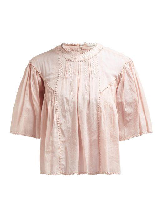 Étoile Isabel Marant Pink Algar Embroidered Cotton Top