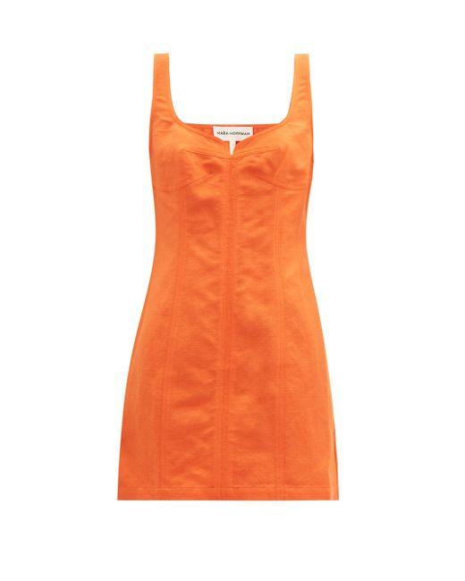 Mara Hoffman アニータ オーガニックコットンリネンミニドレス Orange