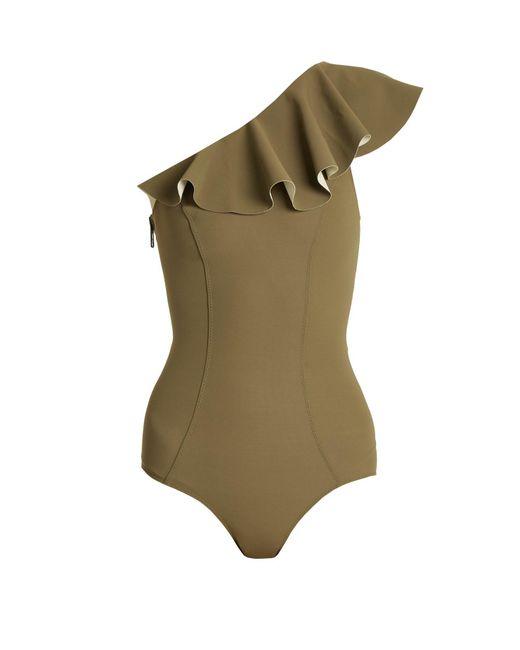 Lisa Marie Fernandez - Green Arden Flounce Bonded Swimsuit - Lyst