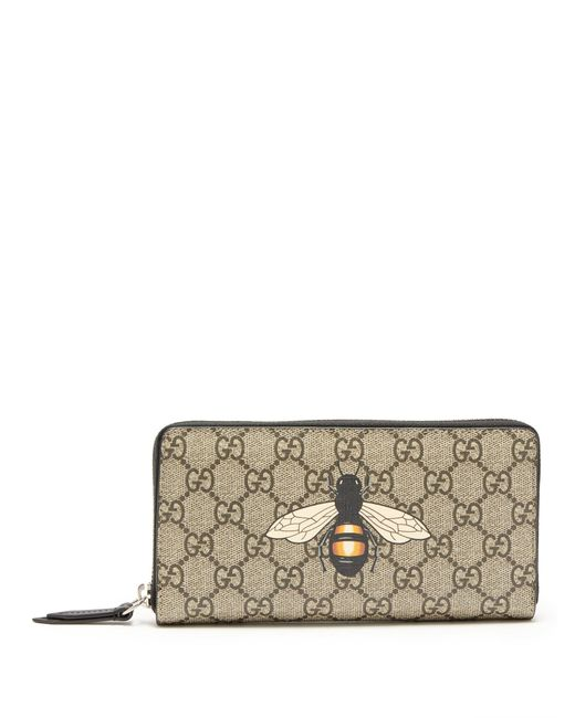 a9d212344 Gucci - Brown Gg Supreme Bee Print Wallet for Men - Lyst ...