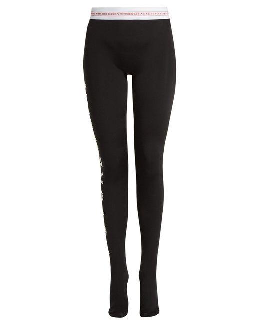 MARINE SERRE Black X Swarovski Futurewear Jersey Leggings