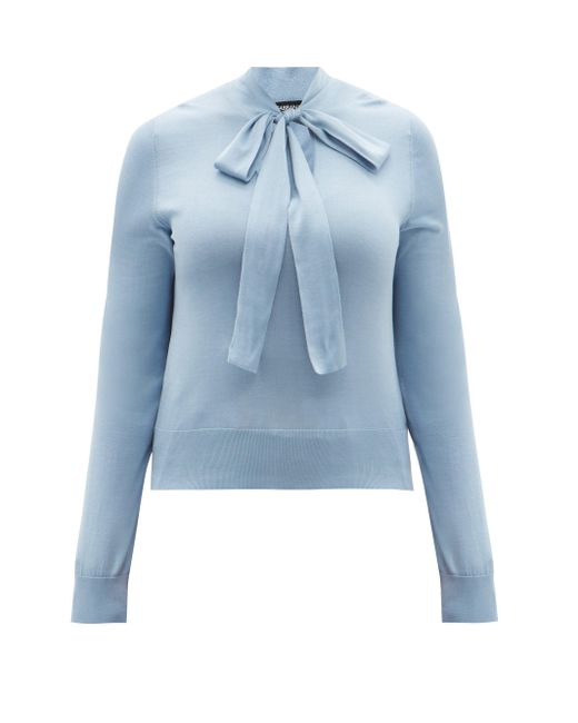 Dolce & Gabbana タイネック シルクブラウス Blue