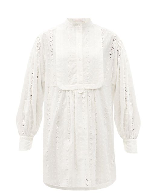 See By Chloé See By Chloé ビブフロント アイレットレース コットンミニドレス White