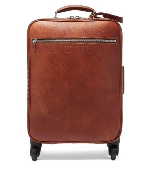 メンズ Brunello Cucinelli グレインレザー キャリーオンスーツケース Multicolor
