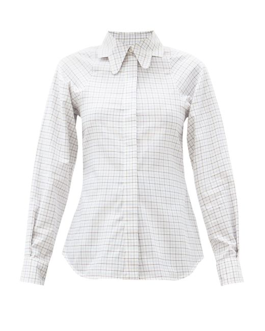 Victoria Beckham Multicolor Butterfly-collar Checked Cotton Shirt