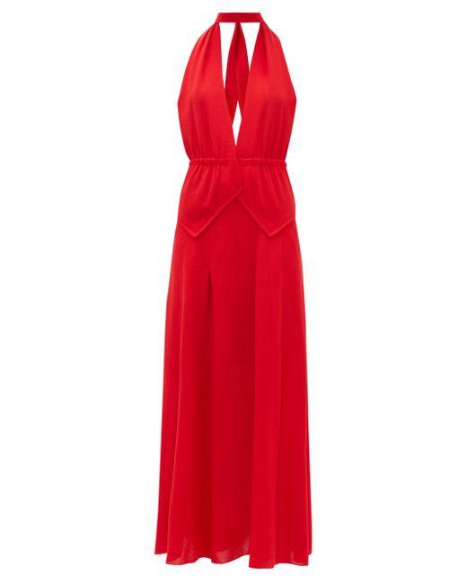Roland Mouret Katana ホルターネック ウールクレープドレス Red