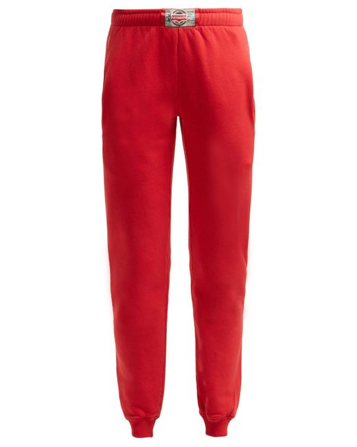 Vetements Red Boxer Tag Cotton Track Pants