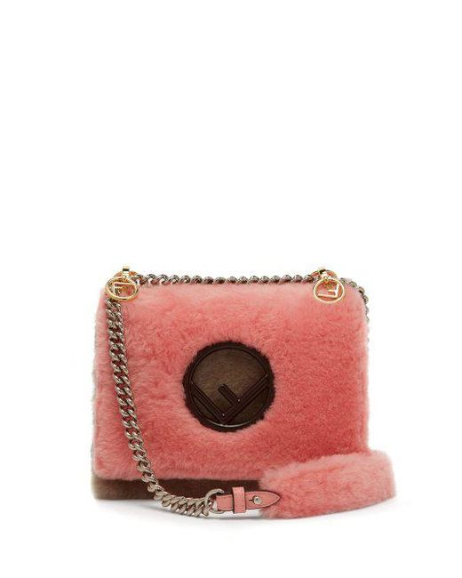 c02cbbeaedbb Fendi - Multicolor - Kan I Shearling Cross Body Bag - Womens - Pink Multi  ...