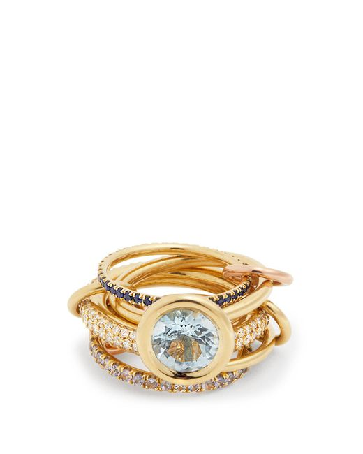 Spinelli Kilcollin - Blue Rana Diamond, Yellow Gold & Rose Gold Rings - Lyst