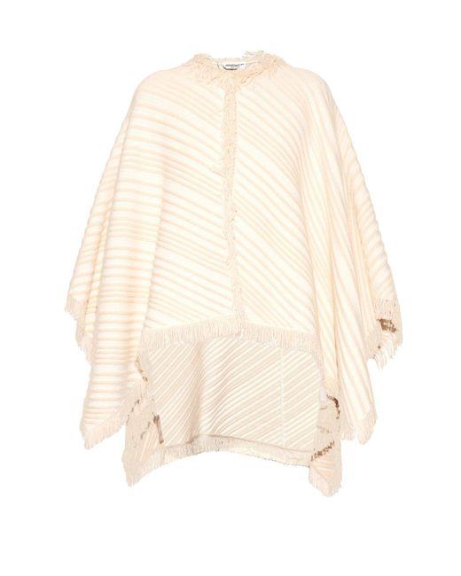 Sonia Rykiel - White Diagonal-knit Cotton-blend Poncho - Lyst