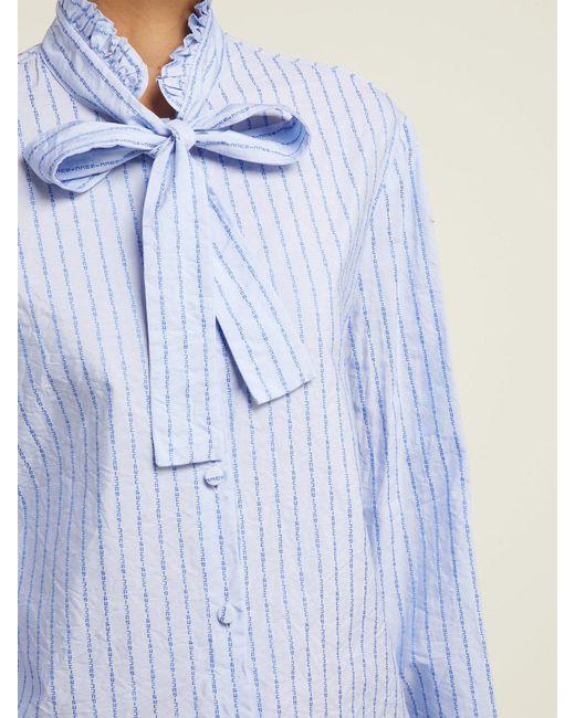 6ec66391b ... Gucci - Blue Pussy Bow Striped Logo Jacquard Cotton Shirt - Lyst