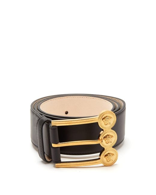 Versace Black Medusa Buckle Leather Belt